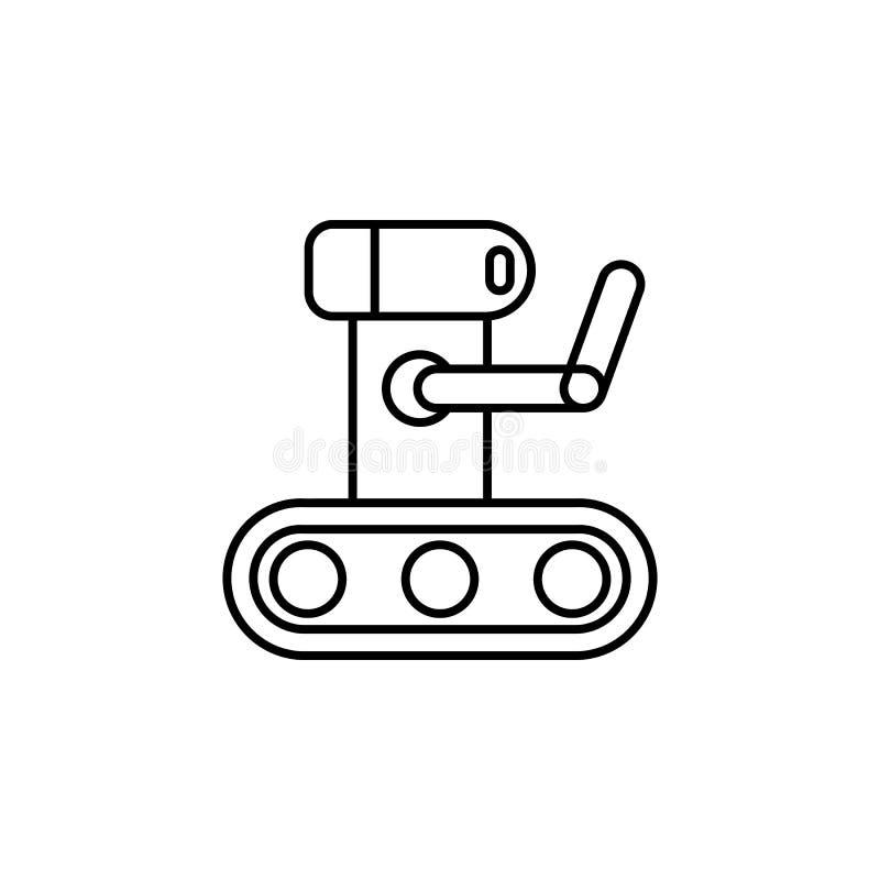 Botsymbol Chatbot symbolsbegrepp Gullig le robot Modern linje teckenillustration som för vektor isoleras på vit bakgrund royaltyfri illustrationer