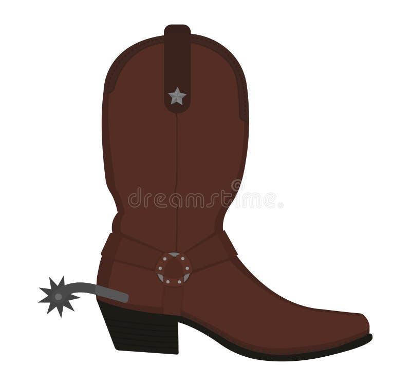 Botte de cowboy en cuir occidentale sauvage avec la dent illustration stock
