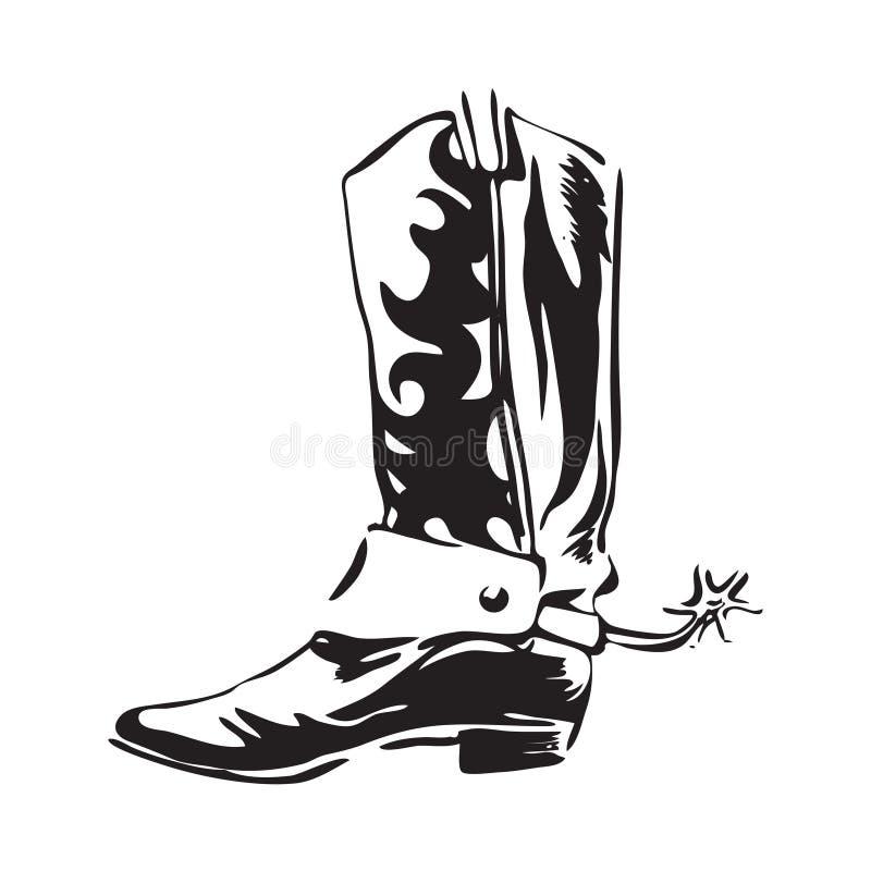 Botte de cowboy tirée par la main avec la dent Illustration en cuir occidentale sauvage de vecteur de chaussures Noir d'isolement illustration stock