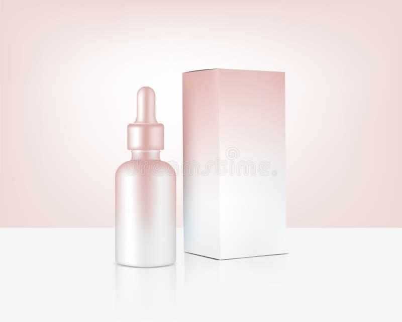 Botte de dropper - Réaliste Rose Gold Cosmetic and Box for Skincare Product Illustration de fond Soins de santé et soins médicaux illustration de vecteur