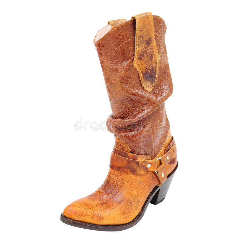 Botte de haute couture, botte occidentale de style de femme en cuir photo libre de droits