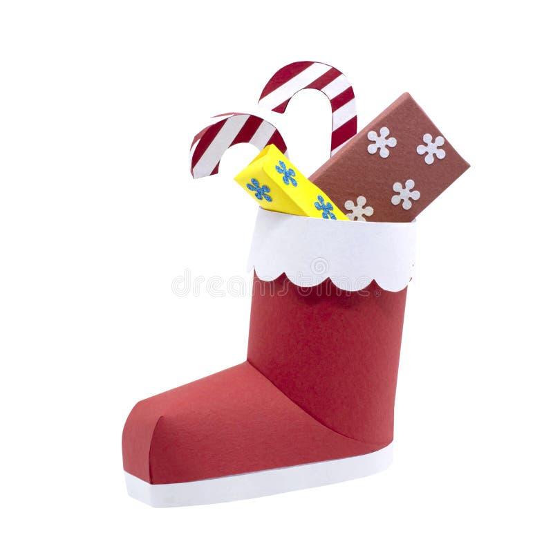 botte de Santa du papier 3d avec des cadeaux d'isolement sur le blanc photos libres de droits