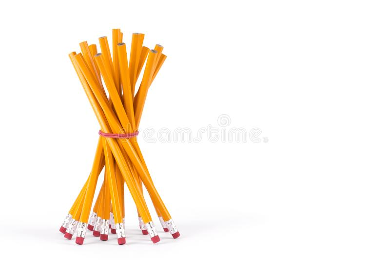 Botte eenvoudige potloden op isolatie royalty-vrije stock afbeeldingen