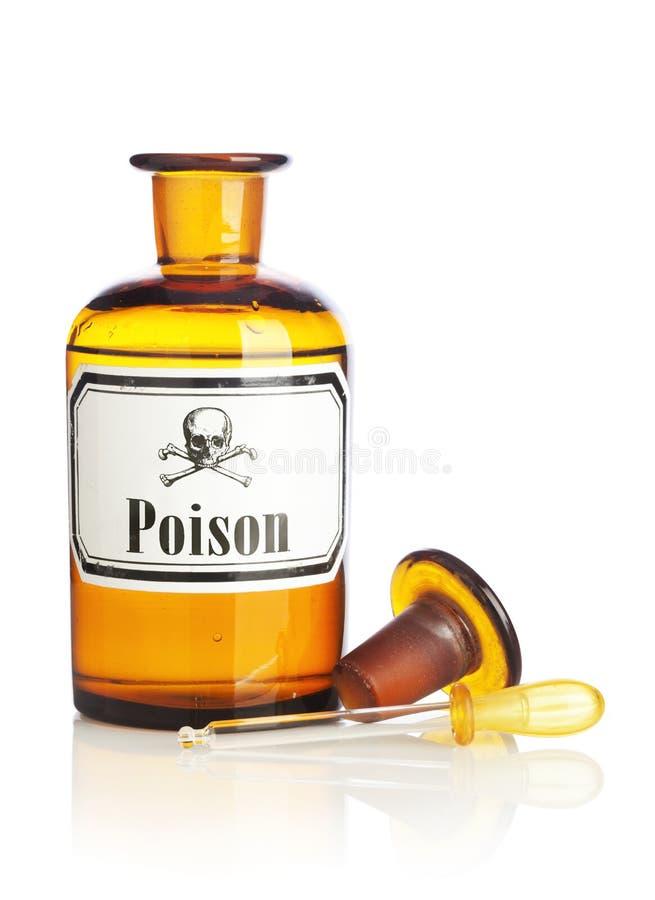 Bottle of Poison isolated. Pharmacy Bottle with Poison Label and Eyedropper on white background stock photo
