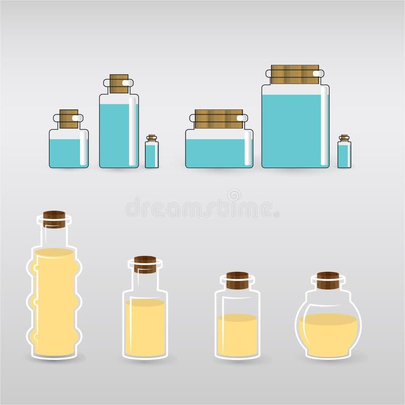 Bottels van aromaoliën voor kuuroord en massagemeesters royalty-vrije illustratie