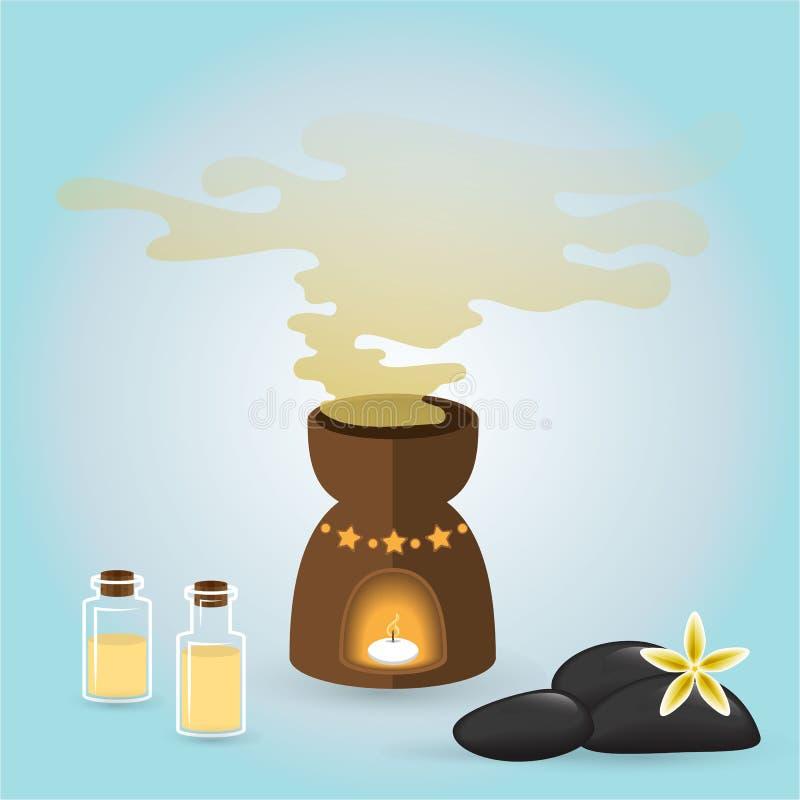 Bottels van aromaoliën voor kuuroord en massagemeesters vector illustratie
