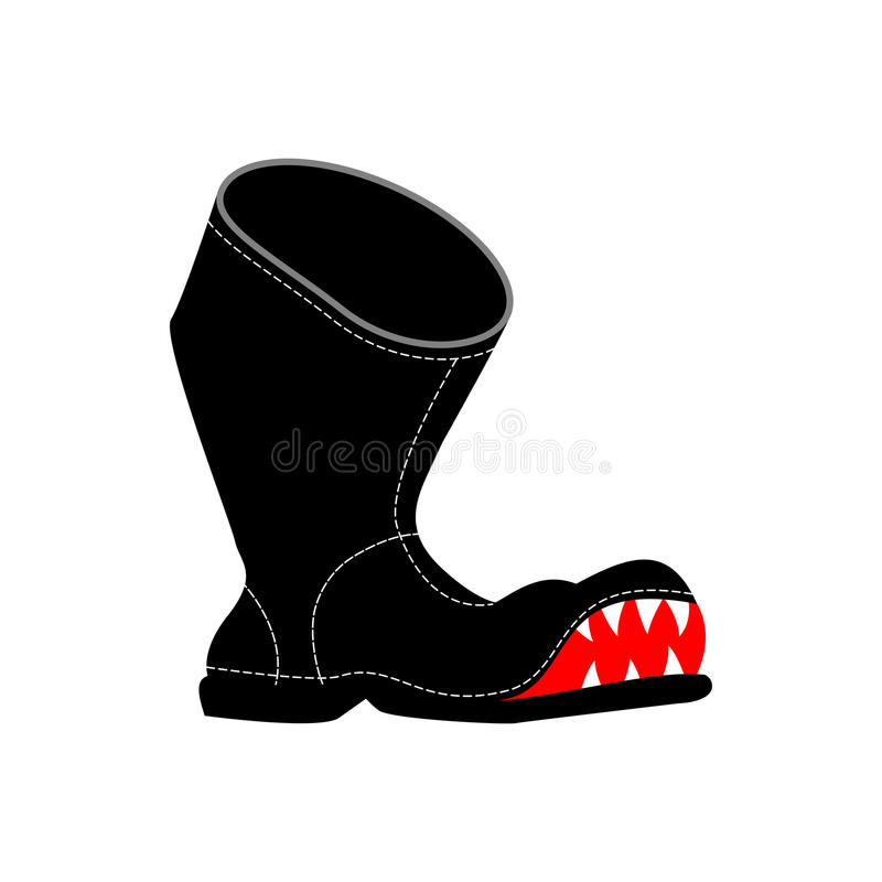 Bottes déchirées avec des dents Vieilles chaussures pauvres d'isolement illustration de vecteur