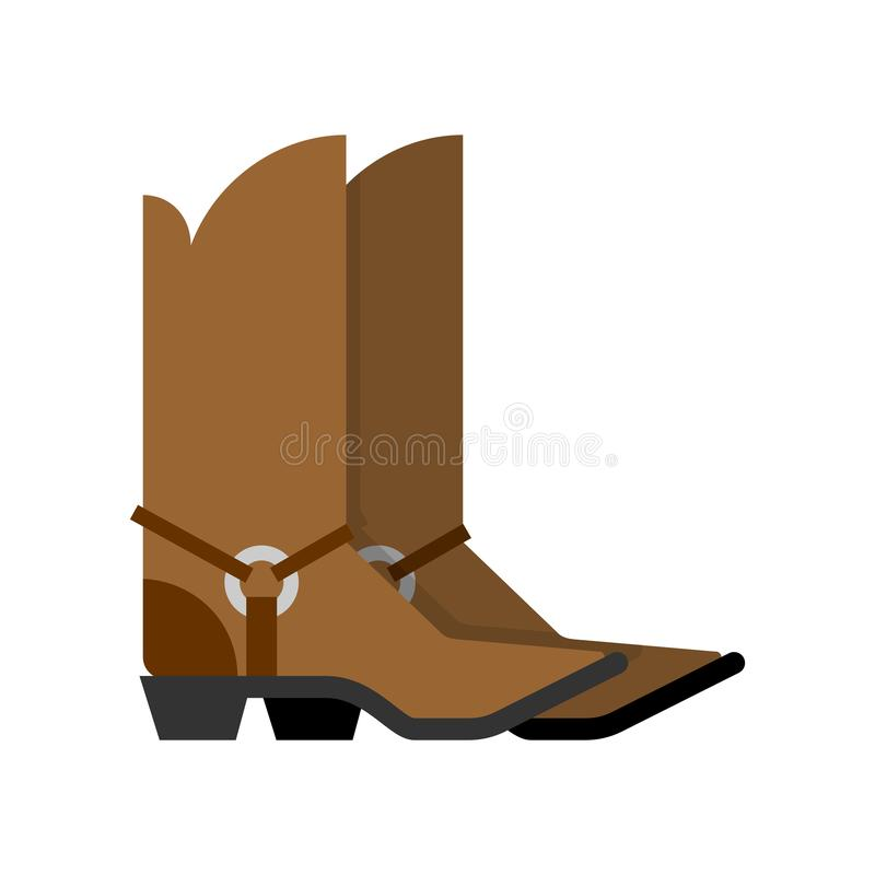 Bottes de cowboy d'isolement accessoire occidental Chaussures occidentales sauvages Illustration de vecteur illustration de vecteur
