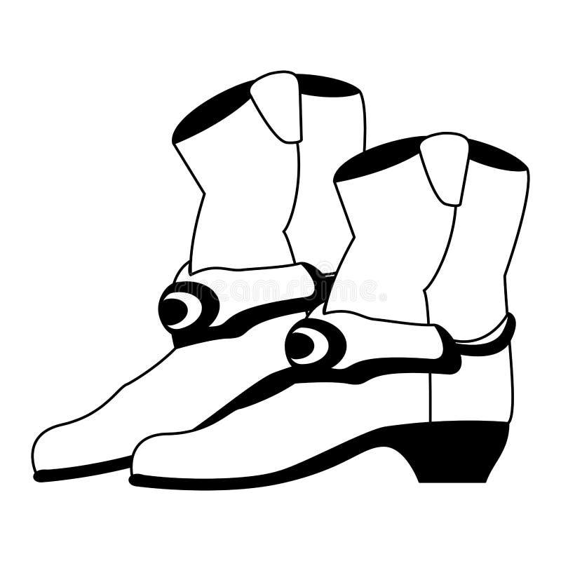 Bottes de cowboy d'isolement en noir et blanc illustration stock