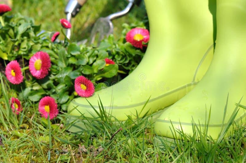 Bottes en caoutchouc de jardinage photographie stock libre de droits