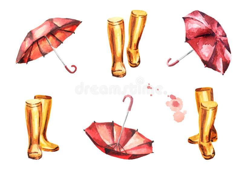 Bottes en caoutchouc jaunes et parapluies rouges réglés illustration de vecteur