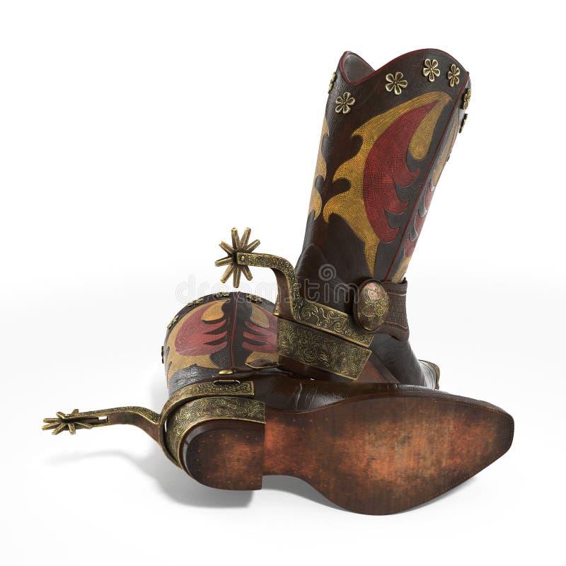 Bottes en cuir traditionnelles de cowboy américain de rodéo avec les dents occidentales authentiques d'équitation sur le blanc il illustration stock