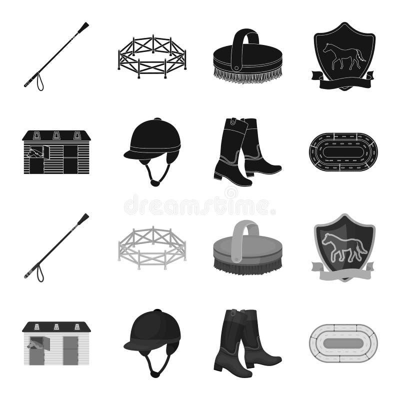 Bottes, herbe, stade, voie, repos Icônes réglées de collection d'hippodrome et de cheval dans le symbole noir et monochrome de ve illustration de vecteur