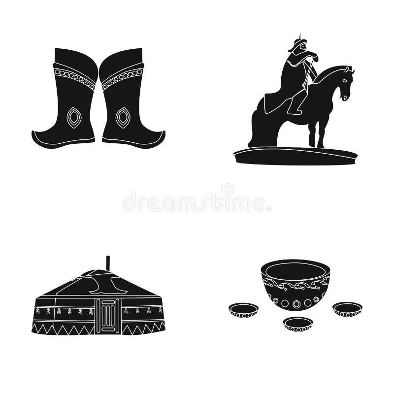Bottes militaires, un monument au cavalier, une tente nationale, une boisson au lait Icônes réglées de collection de la Mongolie  illustration libre de droits