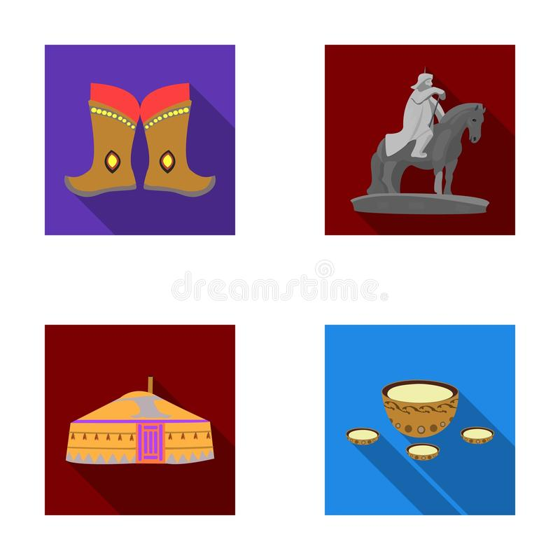 Bottes militaires, un monument au cavalier, une tente nationale, une boisson au lait Icônes réglées de collection de la Mongolie  illustration de vecteur