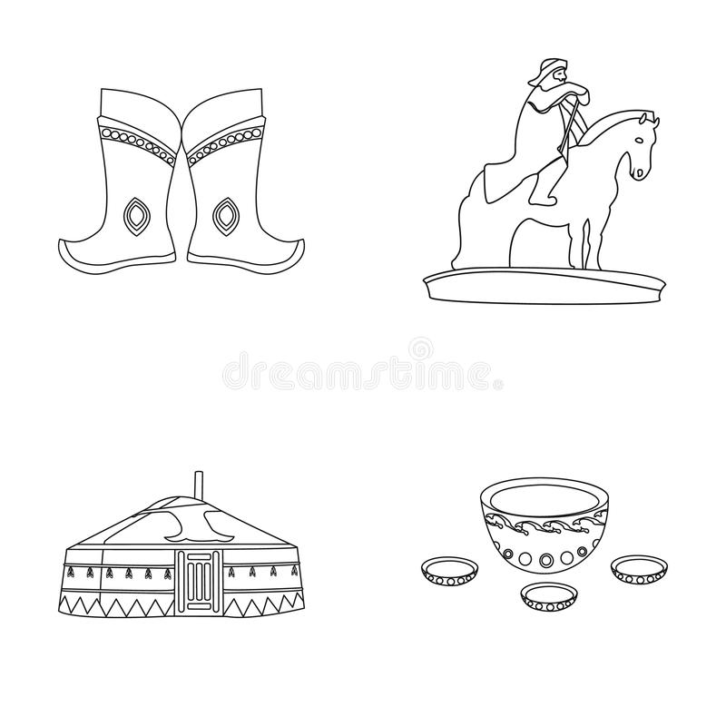 Bottes militaires, un monument au cavalier, une tente nationale, une boisson au lait Icônes réglées de collection de la Mongolie  illustration stock