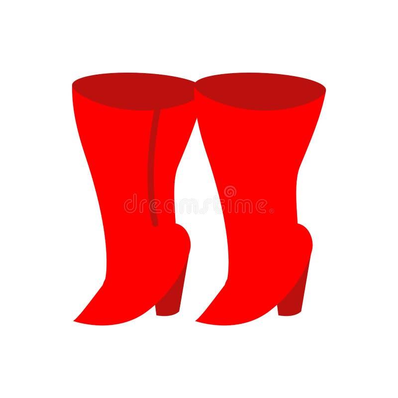 Bottes rouges femelles d'isolement Illustration de vecteur des chaussures des femmes illustration stock