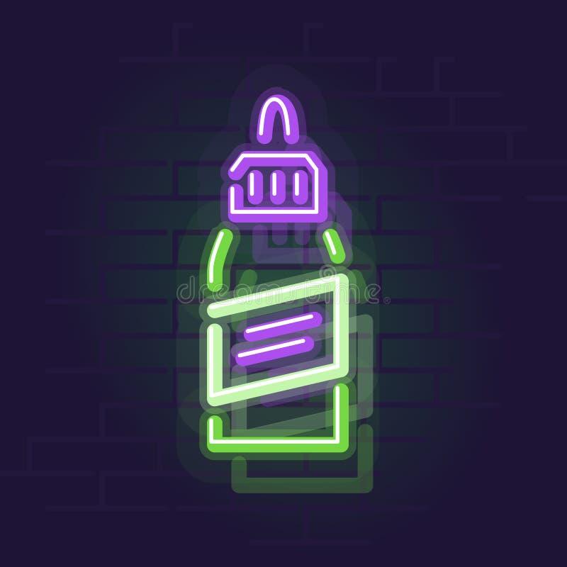 Bottiglia al neon del liquido del vape Segno di Wall Street illuminato notte fotografia stock libera da diritti