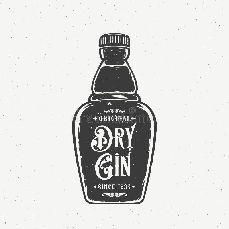 Bottiglia asciutta originale di Gin Abstract Vintage Hand Drawn Retro carta di vettore, etichetta, manifesto o un fondo Con miser royalty illustrazione gratis