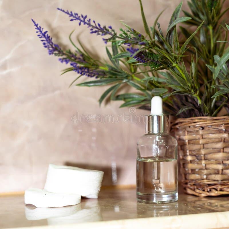 Bottiglia bianca del prodotto cosmetico Trattamento di bellezza di Skincare, trucco cosmetico naturale, prodotto organico del sie immagine stock libera da diritti