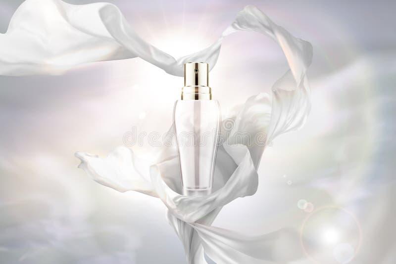 Bottiglia bianca dello spruzzo e chiffona illustrazione di stock