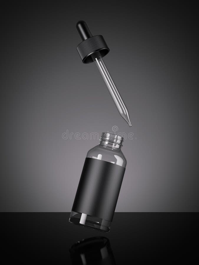 Bottiglia in bianco nera con una pipetta rappresentazione 3d illustrazione di stock