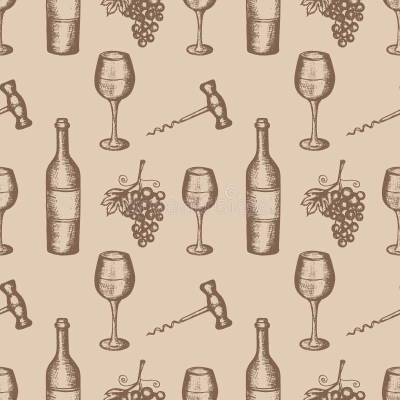 Bottiglia, bicchiere di vino, uva, cavaturaccioli, modello senza cuciture su fondo beige illustrazione di stock