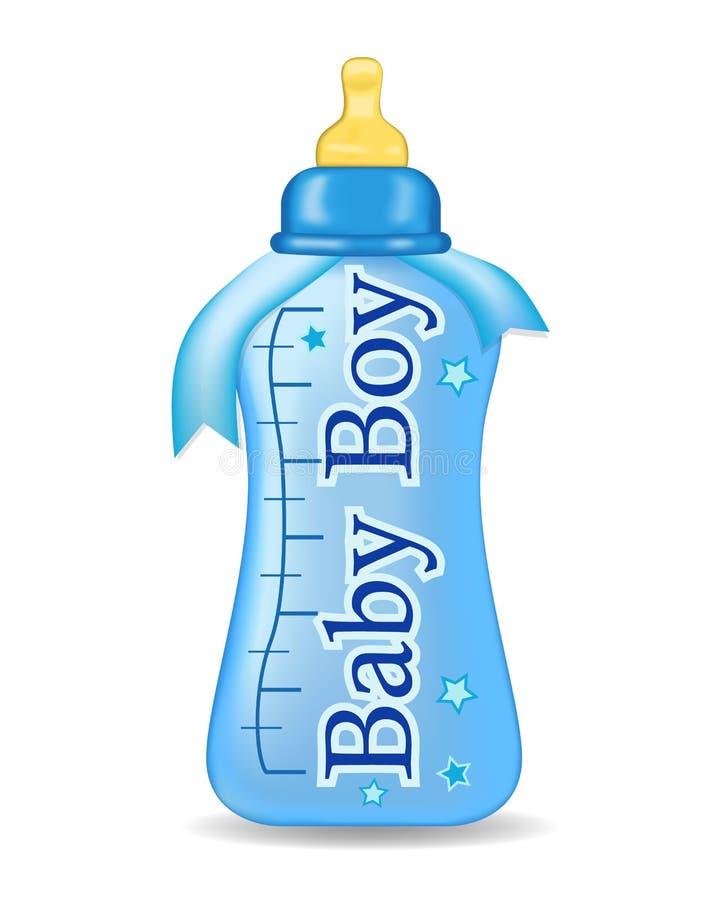 Bottiglia blu con il nastro su fondo isolato Bottels del bambino Illustrazione di vettore royalty illustrazione gratis
