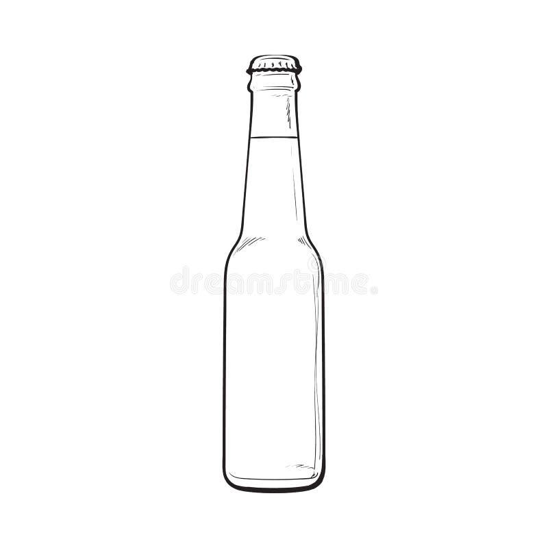 Bottiglia chiusa di birra fredda, illustrazione di vettore di stile di schizzo illustrazione vettoriale