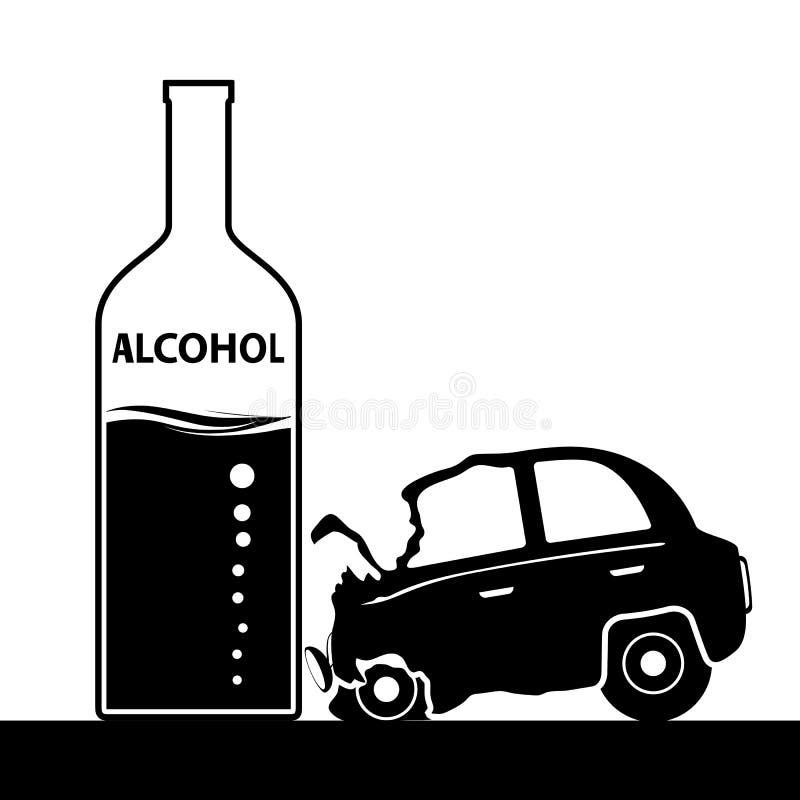 Bottiglia con alcool, un incidente stradale Ubriachezza e guidare St illustrazione vettoriale