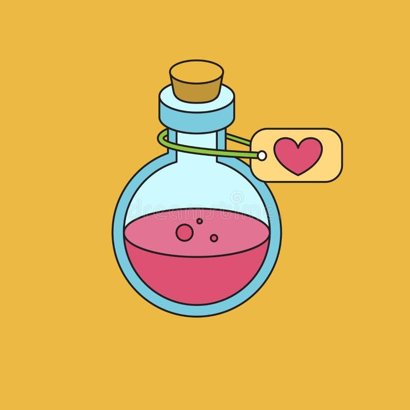 Bottiglia con elisir magico Icona per il gioco su un fondo giallo illustrazione vettoriale