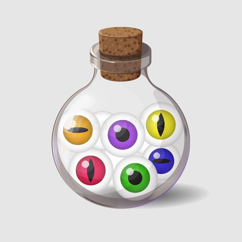 Bottiglia con gli occhi Icona del gioco dell'ingrediente magico nello stile del fumetto Progettazione luminosa per l'interfaccia  royalty illustrazione gratis