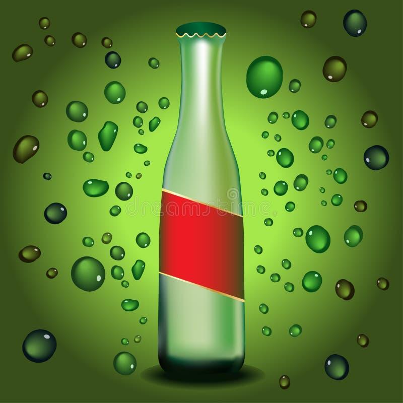 Bottiglia con il Dott. dell'acqua e del contrassegno illustrazione vettoriale