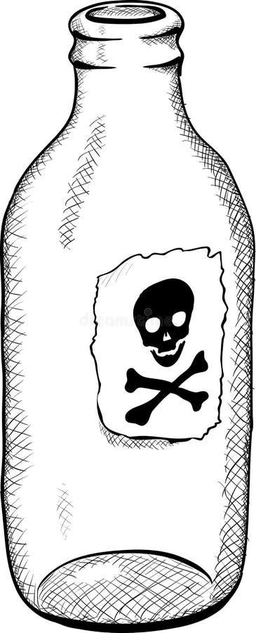 Bottiglia con il simbolo della morte - illustrazione illustrazione vettoriale