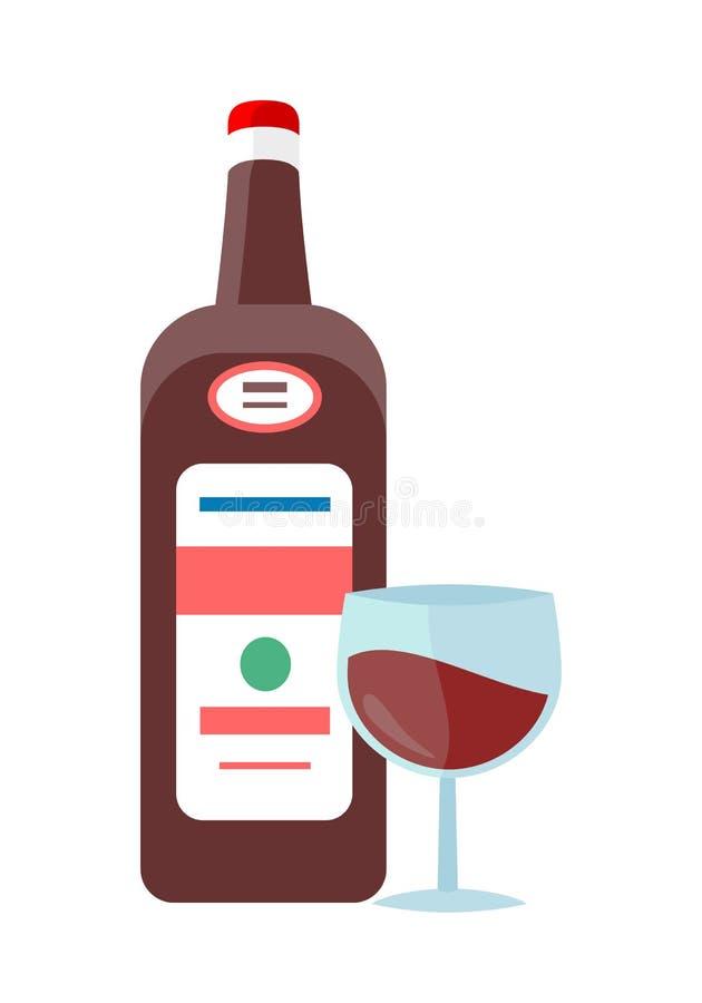 Bottiglia con il vettore dell'alcool nella progettazione piana di stile illustrazione di stock