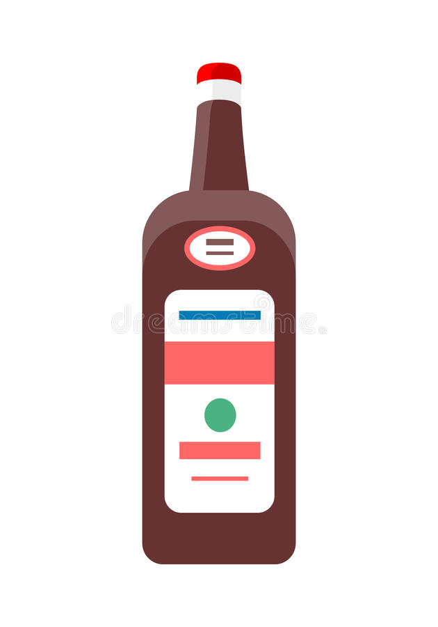 Bottiglia con il vettore dell'alcool nella progettazione piana di stile illustrazione vettoriale