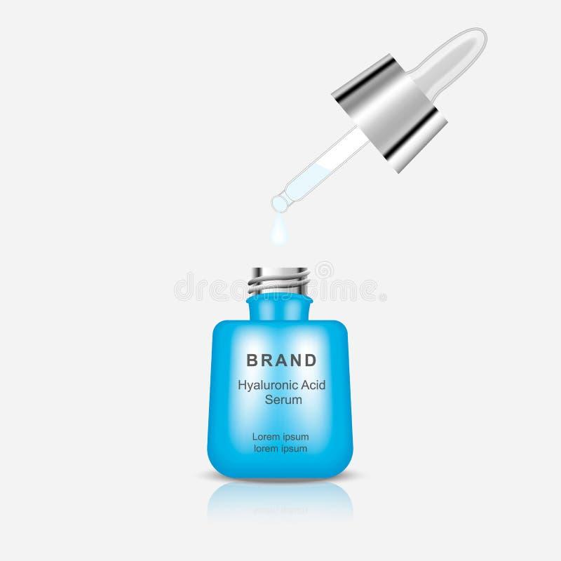 Bottiglia con l'acido ialuronico del siero Modello per la pubblicit? del vostro prodotto Vettore illustrazione vettoriale