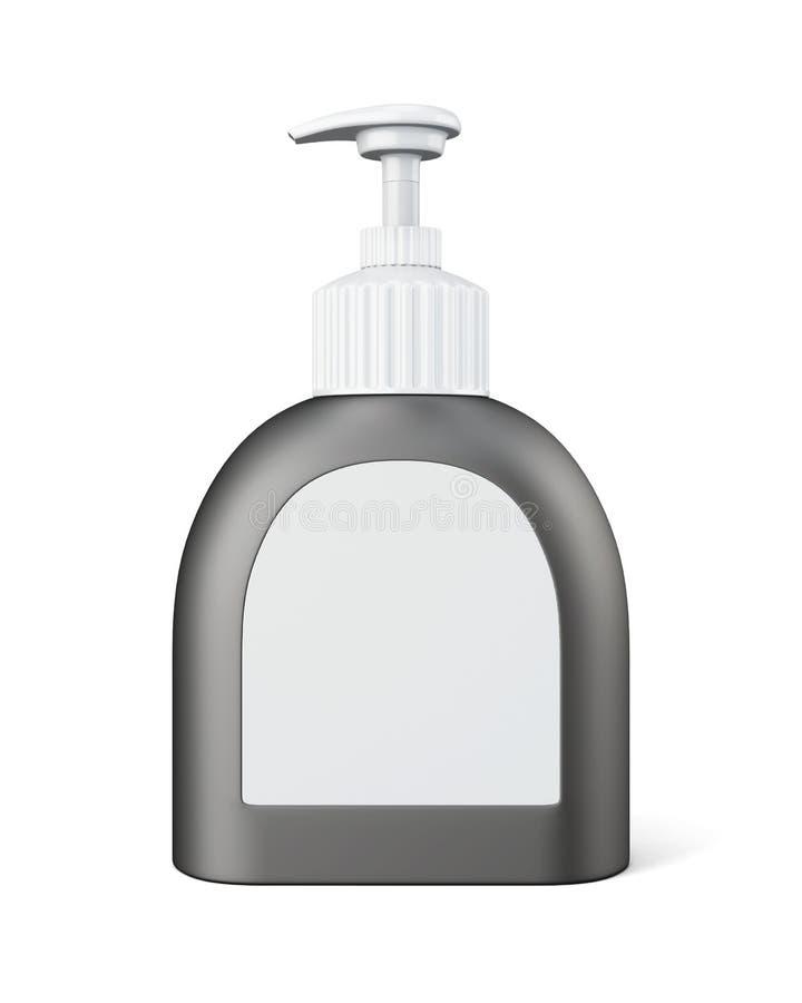 Bottiglia con la pompa su fondo bianco rappresentazione 3d fotografia stock libera da diritti