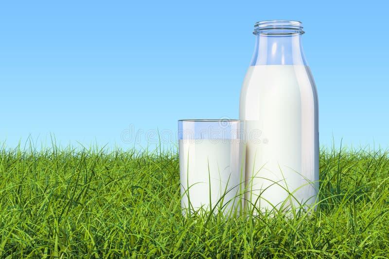 Bottiglia con latte e bicchiere di latte organici erba verde AG illustrazione di stock