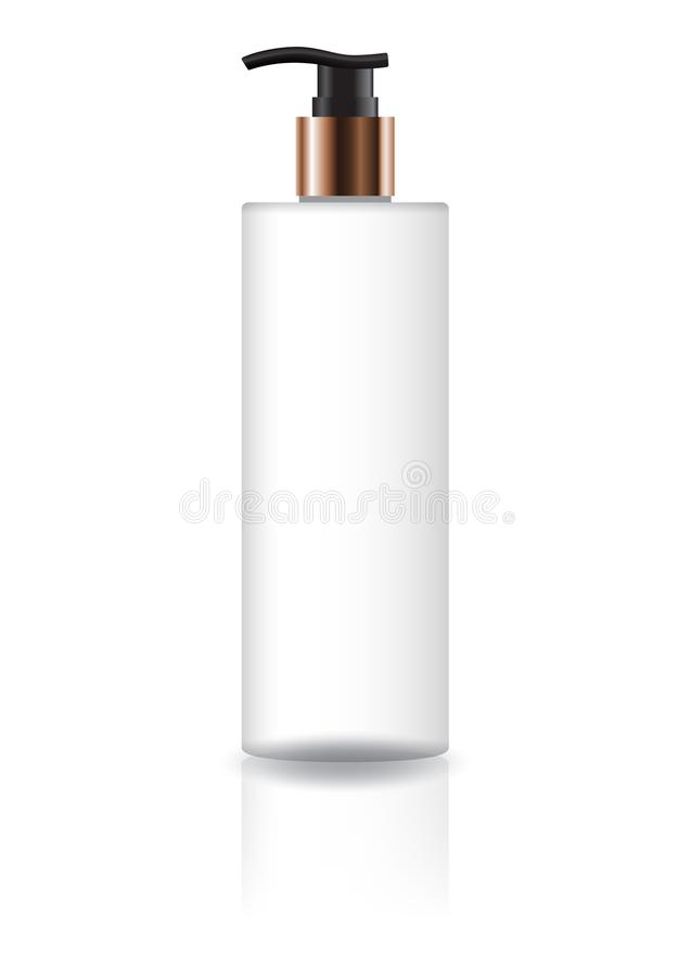 Bottiglia cosmetica bianca in bianco del cilindro con il collo capo e di rame nero della pompa per l'imballaggio del prodotto di  illustrazione di stock