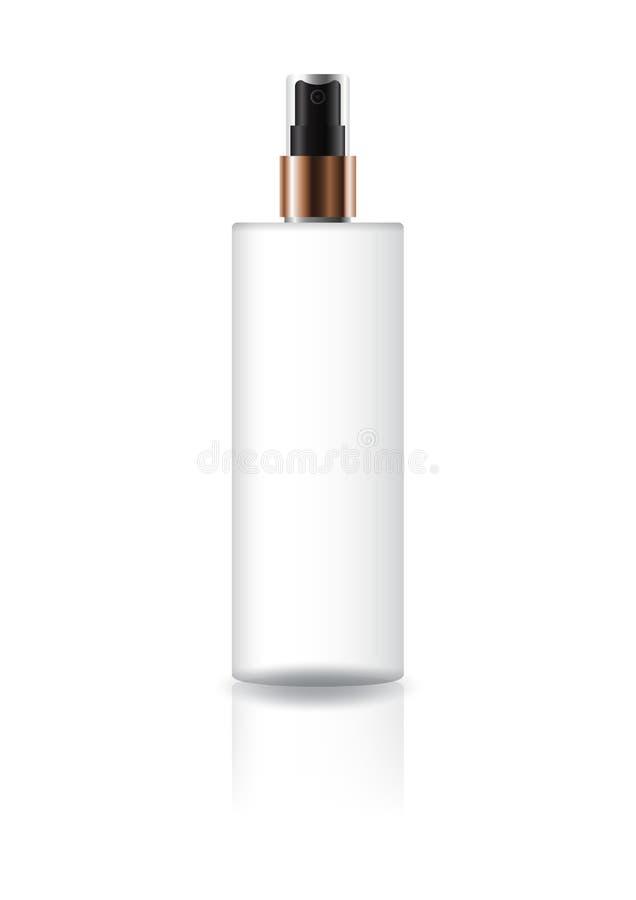 Bottiglia cosmetica bianca in bianco del cilindro con la testa di spruzzo della stampa ed il collo neri del rame per l'imballaggi illustrazione di stock