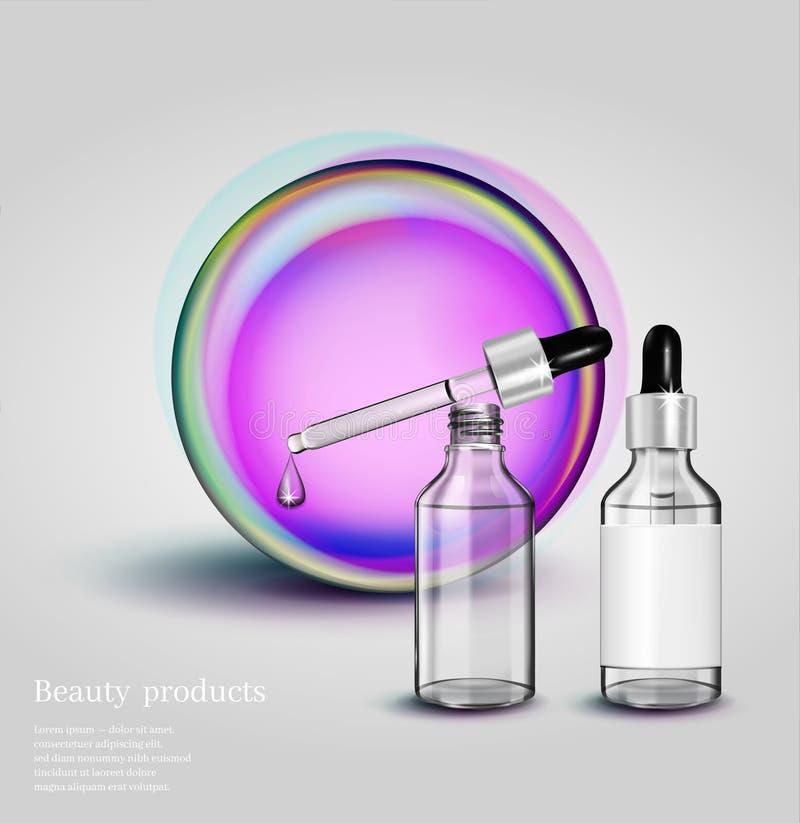 Bottiglia cosmetica di vetro con il contagoccia su fondo al neon Illustrazione cosmetica per annunciare illustrazione vettoriale