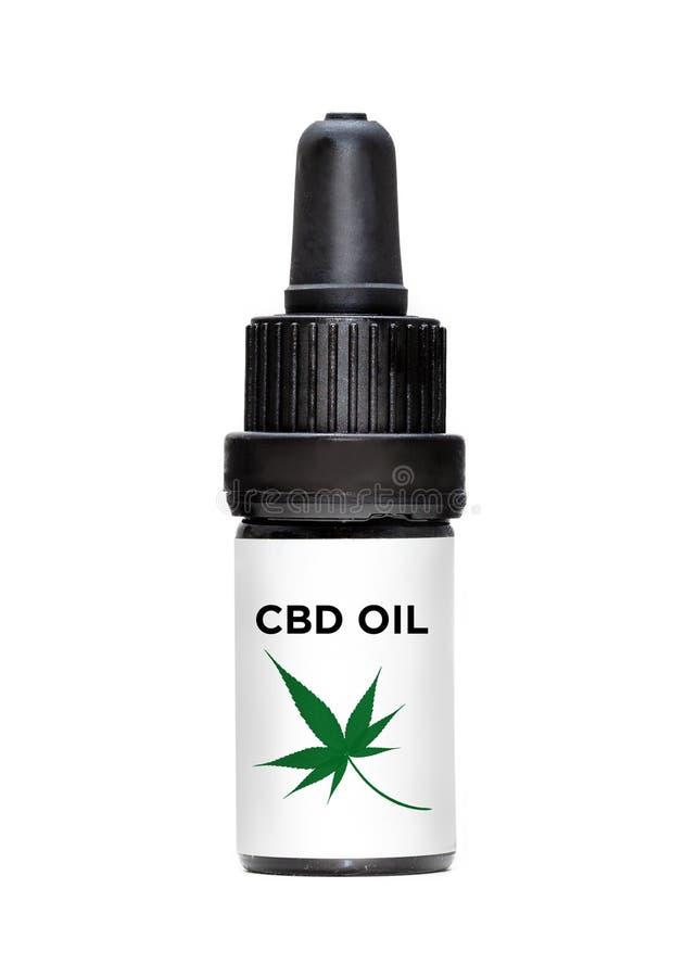 Bottiglia del contagoccia dell'olio di CBD fotografia stock