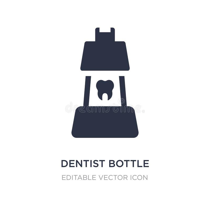 bottiglia del dentista con l'icona liquida su fondo bianco Illustrazione semplice dell'elemento dal concetto del dentista illustrazione di stock