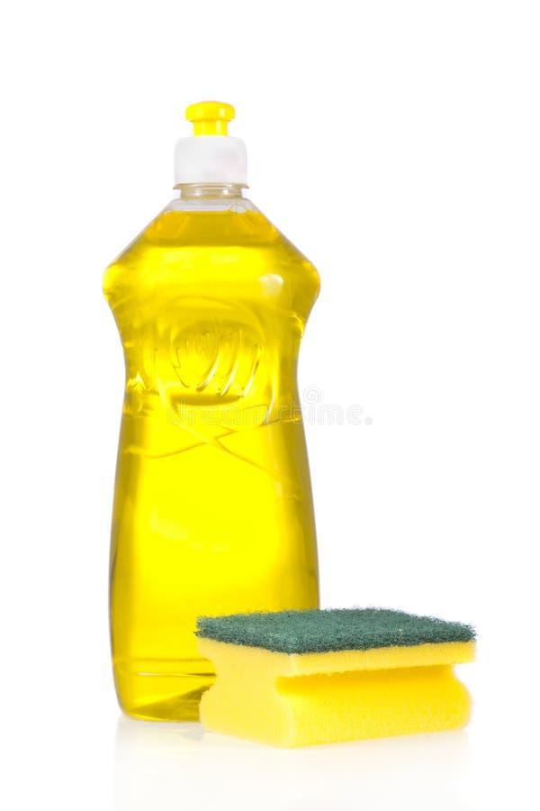 Bottiglia del detersivo liquido e rilievo di raschiatura immagine stock