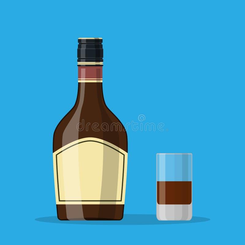 Bottiglia del liquore dell'erba con il vetro di colpo illustrazione vettoriale