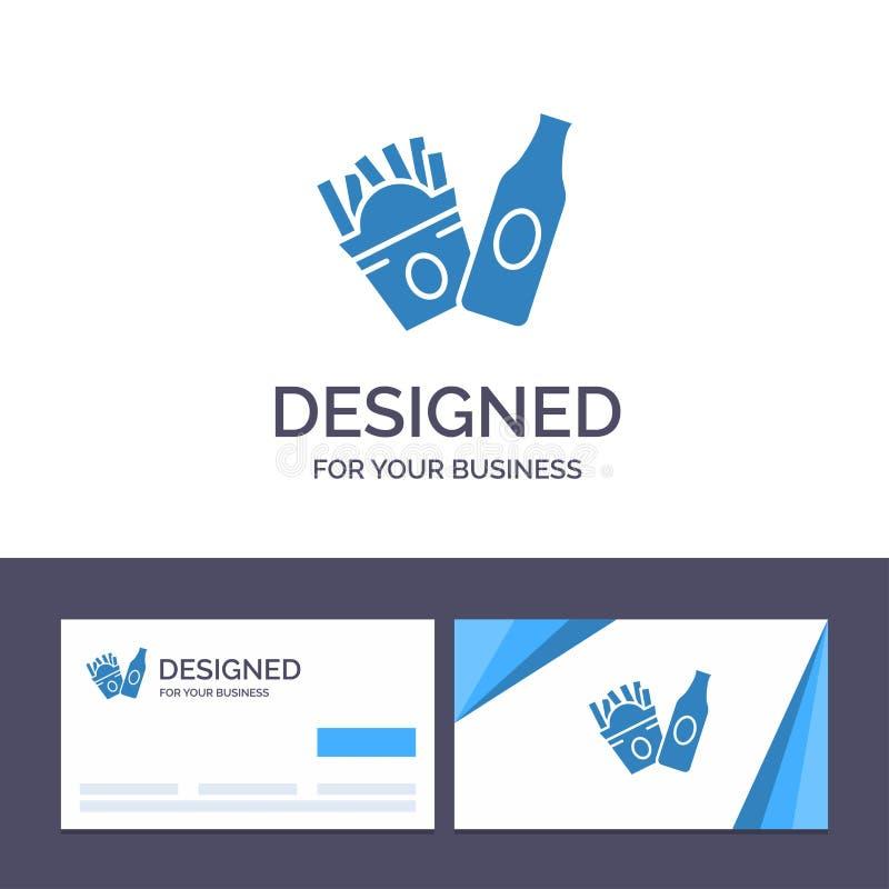 Bottiglia del modello creativo di logo e del biglietto da visita, fritture, illustrazione americana di vettore royalty illustrazione gratis
