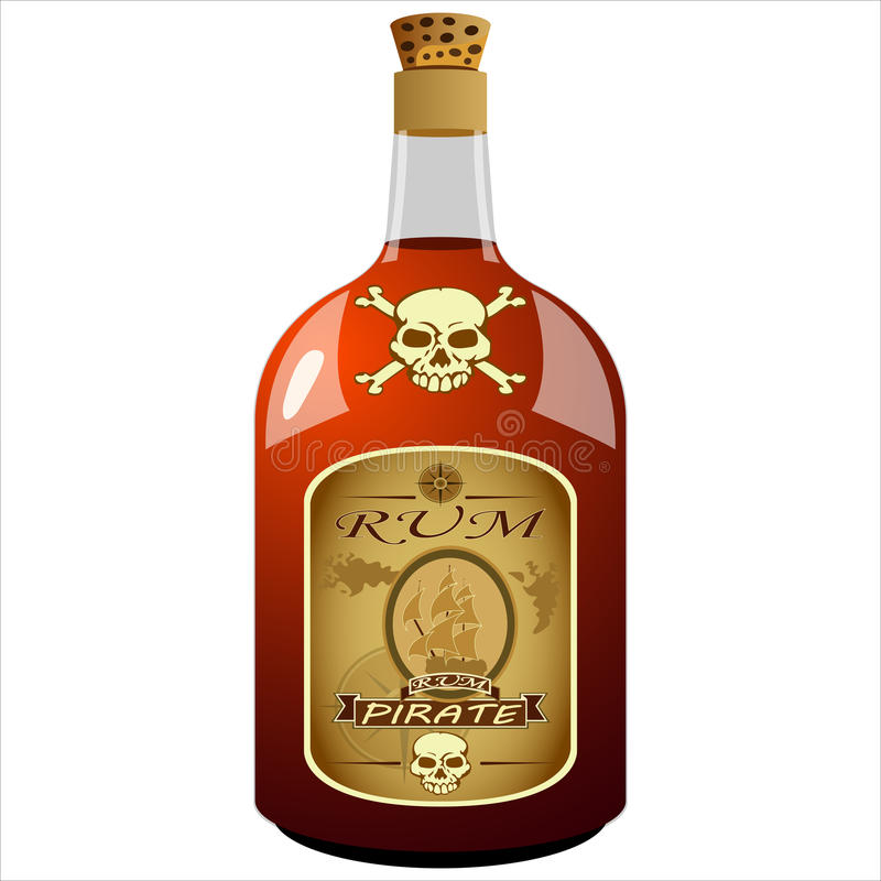 Bottiglia del rum del pirata illustrazione di stock