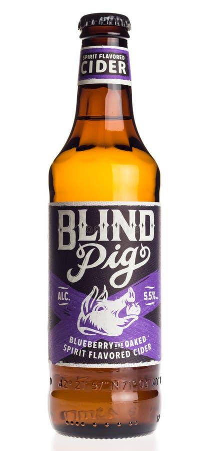 Bottiglia del sidro cieco del mirtillo del maiale su bianco fotografie stock