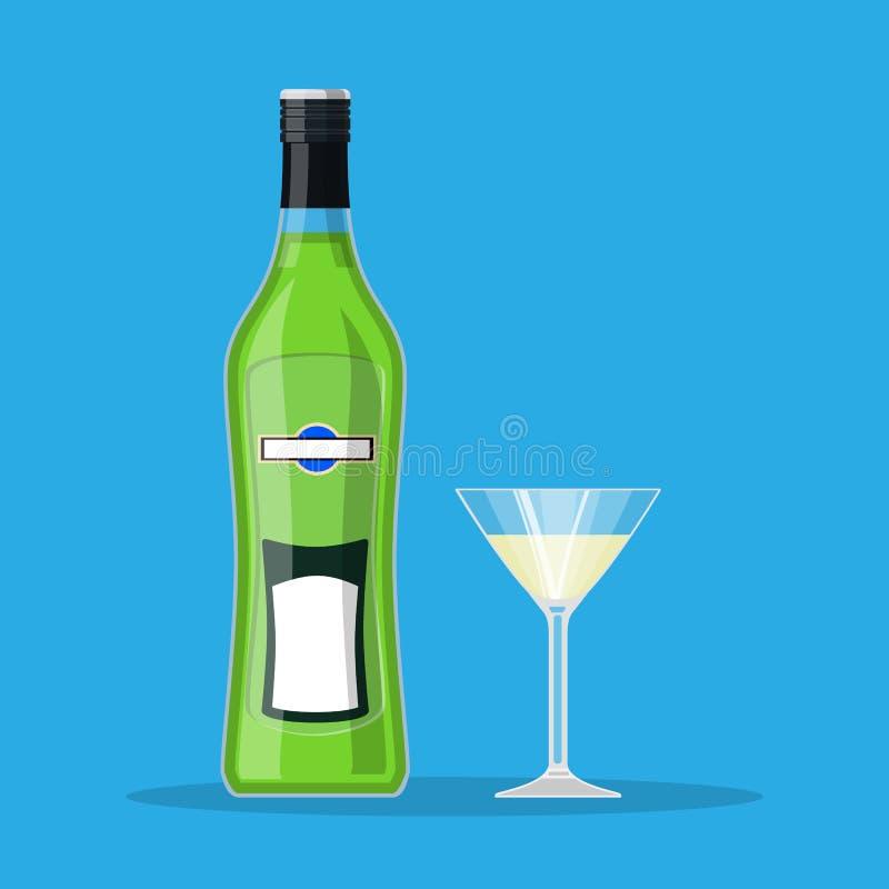 Bottiglia del vermut con vetro illustrazione vettoriale